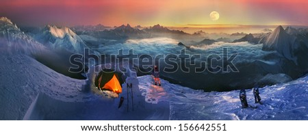 Moonrise, moonset in the high mountains like the Himalayas, fantasy  even a dangerous night on the open height - not a hindrance for the photographer who loved the original photo. Carpathians, Ukraine - stock photo