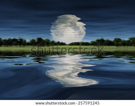 Moonrise over Lake - stock photo