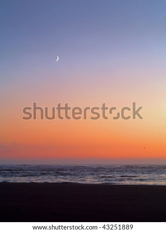 Moonrise over the ocean with a beach foreground - stock photo