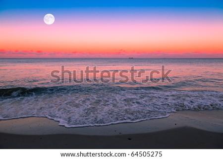 Moonrise over the Sea - stock photo