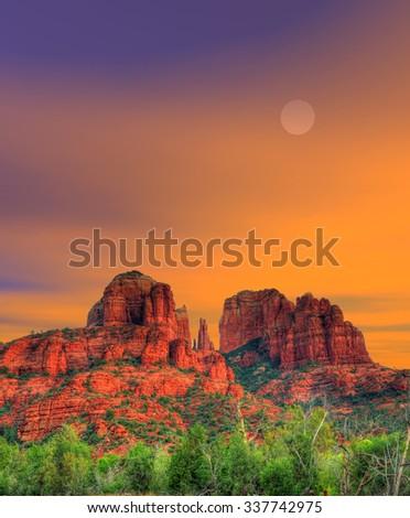 Moonrise Red Rock country mountains surrounding Sedona Arizona - stock photo