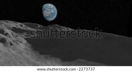 moonscape. A view of the moons surface with the earth in the background. - stock photo