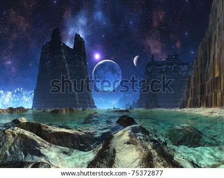 Moonscape over Alien Ocean - stock photo