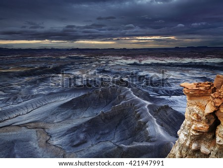 Moonscape Overlook in Utah desert, USA - stock photo