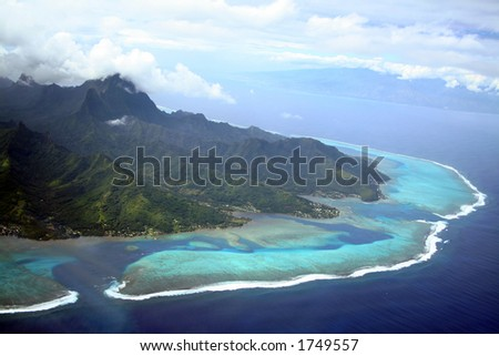 Moorea and Tahiti Islands in South Pacific, French Polynesia - stock photo