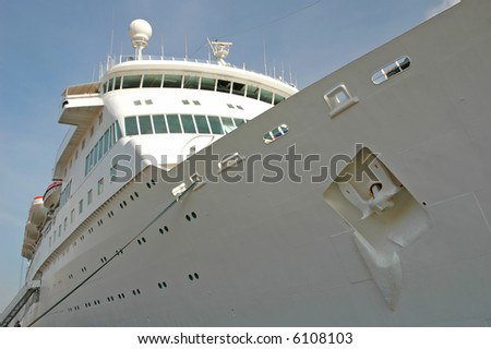moored cruise ship at a port - stock photo