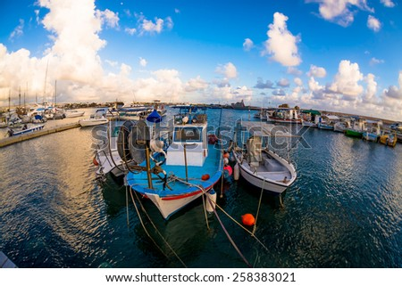 Moored fishing boats in a Paphos harbour, Cyprus - stock photo