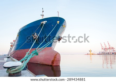 Moored Vessel in the seaport. Closeup - stock photo