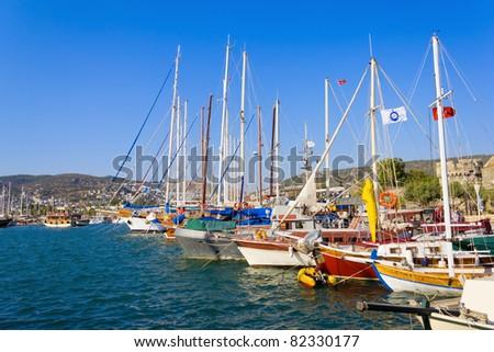 Moored yachts, Bodrum, Turkey - stock photo