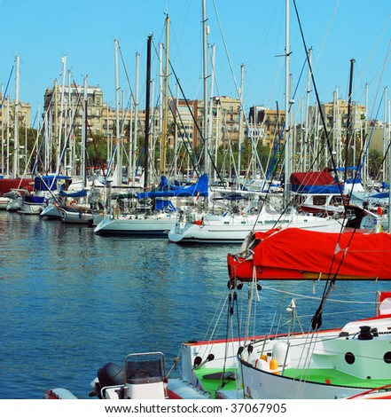 mooring and parking for yachts in port of Barcelona, Port Vell, Spain, Catalonia - stock photo