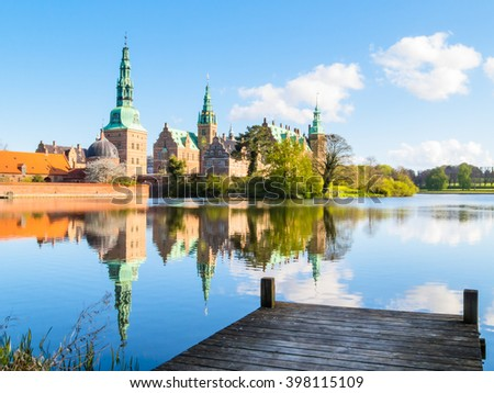Mooring at the Castle Lake against Palace Frederiksborg Slot, Hillerod, Denmark - stock photo