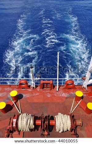 mooring equipment on stern of chemical tanker - stock photo