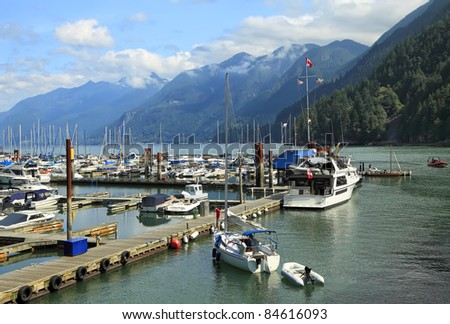 Mooring for the ships, yachts and walking boats and the mountains covered with wood, in the distance (Vancouver. Canada)