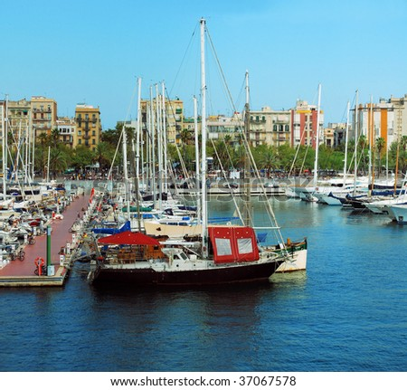 mooring for yachts in port of Barcelona Port Vell, Spain, Catalonia - stock photo