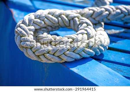 Mooring line of a trawler  - stock photo