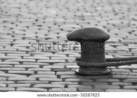 mooring ropes black and white - stock photo