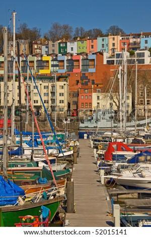 Moorings in winter sunshine at Bristol docks UK - stock photo