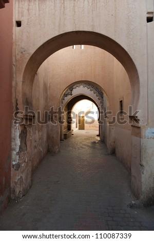 Moorish architecture in Marrakesh, Morocco - stock photo