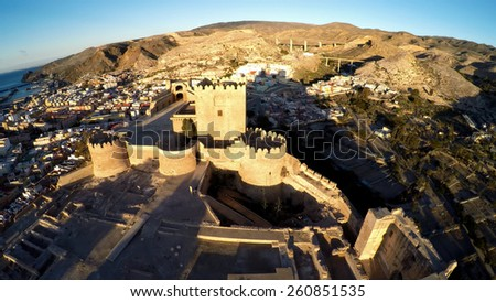 Moorish Castle and view over city buildings, Almeria, Costa Almeria, Almeria Province, Andalusia, Spain, Western Europe. Aerial photo / STUNNING VIDEO AVAILABLE (UHD Quality) on my footage gallery. - stock photo