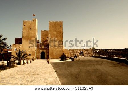 Moorish castle with spanish flag