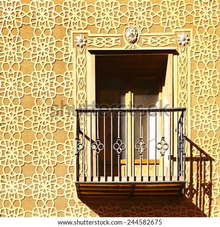Moorish floral wall decoration in Segovia, Spain - stock photo