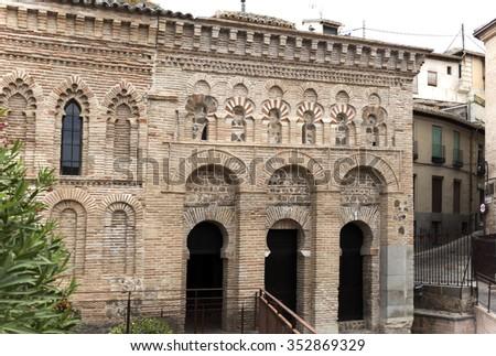 Moorish mosque built in 999, known as Mosque of Cristo de la Luz in Toledo, Spain  - stock photo