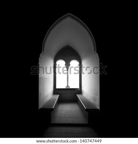 Moorish window backlit in black and white - stock photo