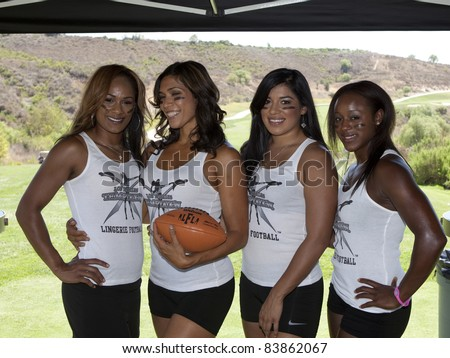 MOORPARK, CA - AUG 29: Lingerie Football Girls of Los Angeles attends the 4th Annual Scotty Medlock and Robby Krieger Celebrity Golf Invitational on August 29, 2011 in Moorpark, California - stock photo