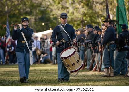 """MOORPARK, CA - NOV 13: Civil War reenactors in """"The Blue & The Gray""""  event Nov 13, 2011 Moorpark, CA. The largest Civil War reenactment in the West. - stock photo"""