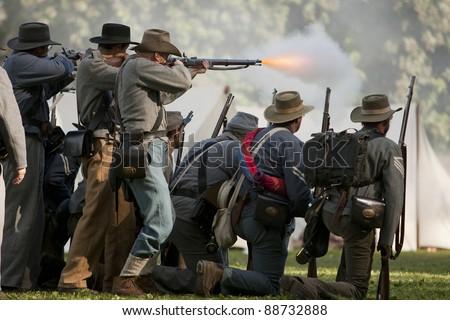 "MOORPARK, CA - NOV 13: Confederate Civil War reenactors in ""The Blue & The Gray"" event on Nov 13, 2011 in Moorpark, CA. Its the largest Civil War reenactment in the West. - stock photo"