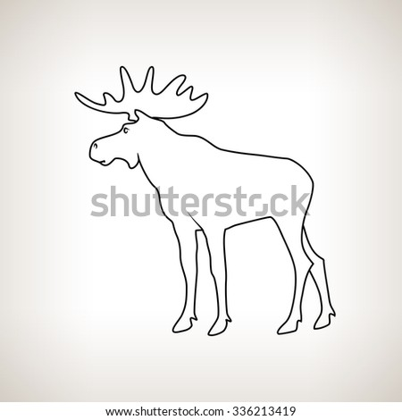Moose Bull with Antlers Isolated on a Light Background, the Image of Elk in the Contours, Deer Family - stock photo
