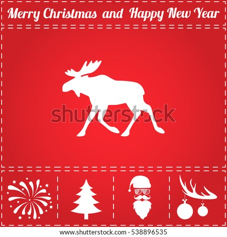 Moose. Flat symbol and bonus icons for New Year - Santa Claus, Christmas Tree, Firework, Balls on deer antlers