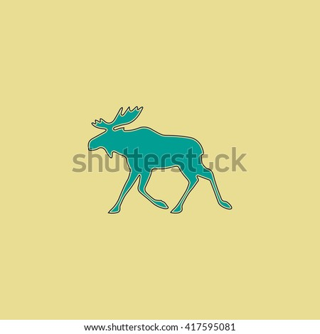 Moose. Grren simple flat symbol with black stroke over yellow background - stock photo