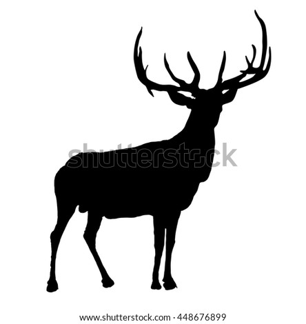 Moose hand drawn outline - stock photo
