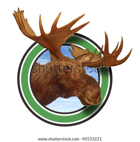 Moose head antler forest icon isolated on white background representing northern fauna from the wildlife of the Canadian and American north mountains for responsible hunting and natural preservation. - stock photo