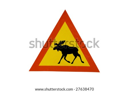 moose sign, isolated on white - stock photo