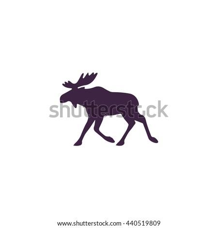 Moose. Simple blue icon on white background - stock photo