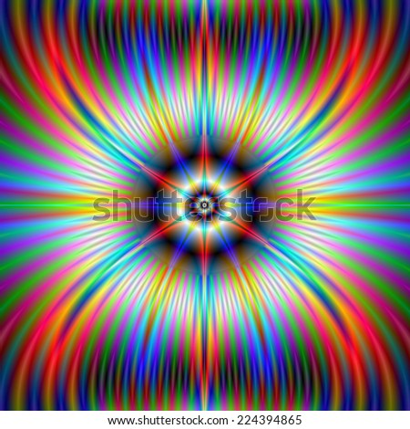 Moose Star / A digital abstract fractal image with an flaming horned star design in red blue green and purple. - stock photo