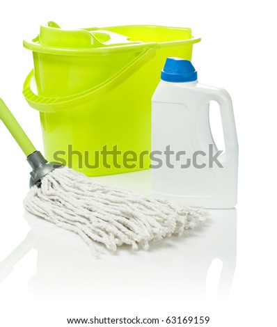 mop and bottle with bucket - stock photo