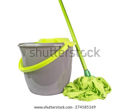 mop bucket green isolated - stock photo