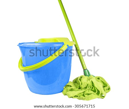 mop bucket isolated - cleaning background - stock photo