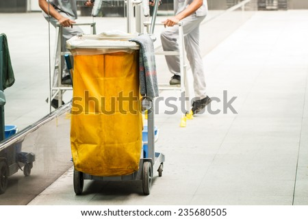Mop bucket with cleaner background-4 - stock photo