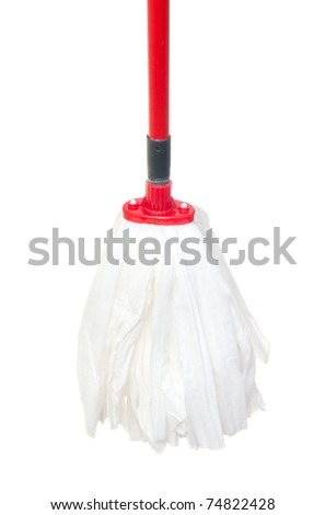 Mop for cleaning isolated on the white - stock photo