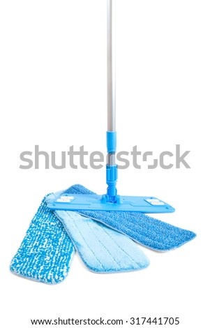 Mop for washing floors with three interchangeable nozzles isolated - stock photo