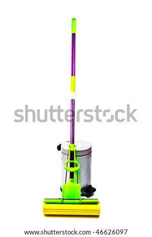 mop, plastic trash can, isolated on a white background.