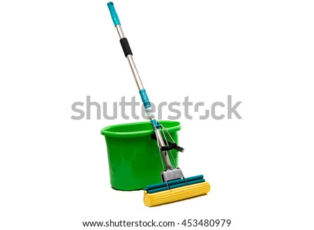 Mop with a bucket on a white background
