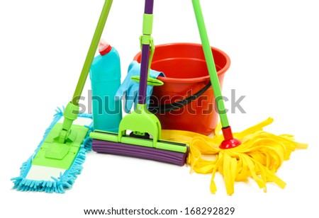 Mops, plastic bucket and rubber gloves, isolated on white  - stock photo