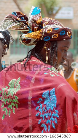 MOPTI, MALI - MARCH 23: Portrait of unidentified Fula woman, March 23, 2009 in Mopti, Mali. Fula people are the largest migratory ethnic group in the world. - stock photo