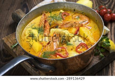 Moqueca de Peixe (Brazilian Fish Stew) - stock photo