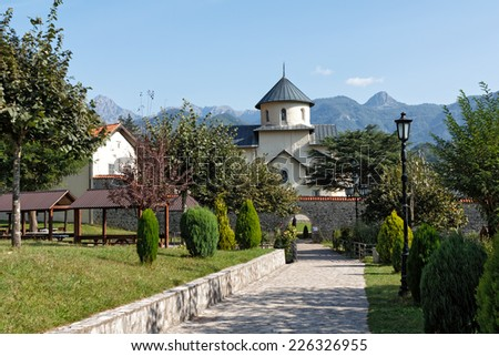 Moraca Monastery is one of the best known medieval monuments of Montenegro - stock photo